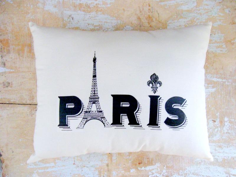 Paris Pillow, Eiffel Tower, French Country Home, Cottage Decor, Paris Decor