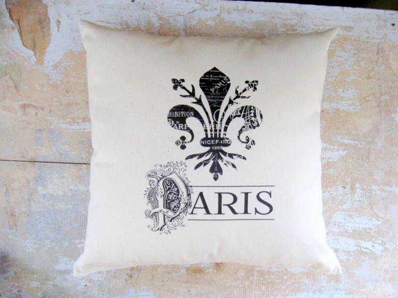 Fleur De Lis Pillow Paris French Country Home Cottage Decor