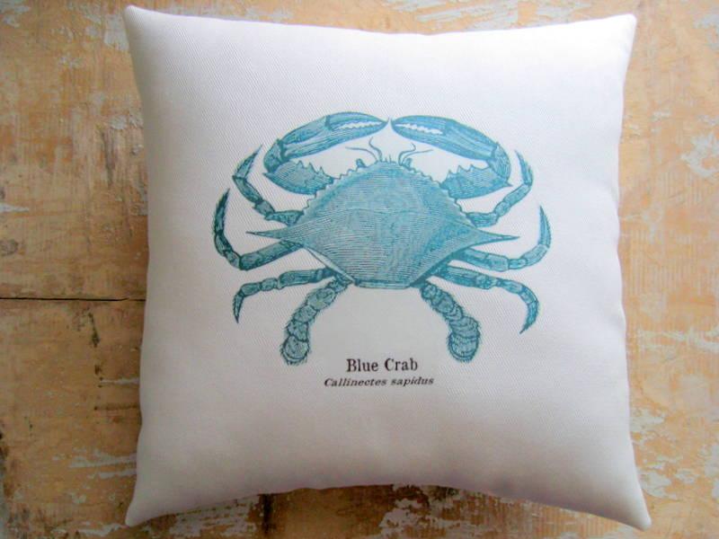 Beach Pillow Blue Crab Nautical Ocean Decor Cottage